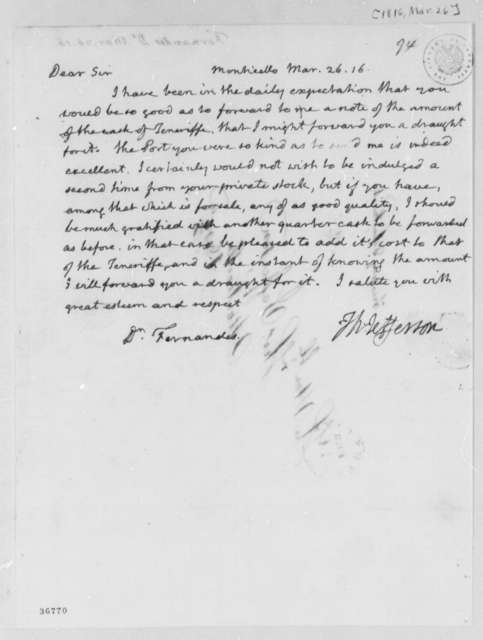Thomas Jefferson to Fernandez Oliviera, March 26, 1816