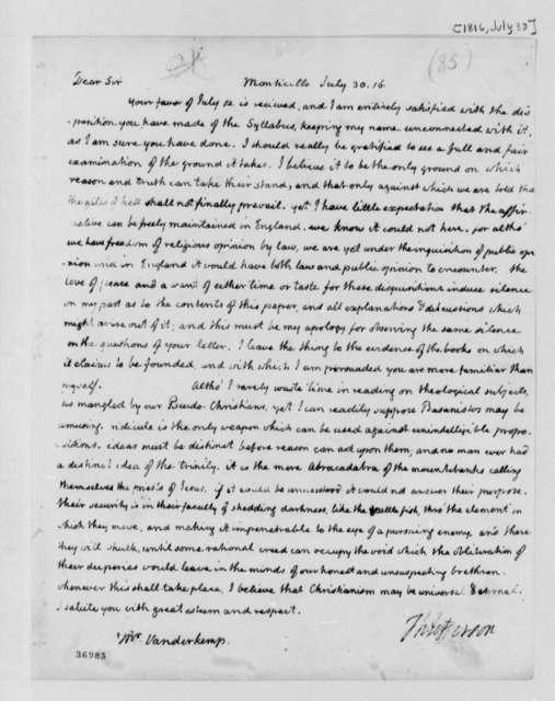 Thomas Jefferson to Francis A. van der Kemp, July 30, 1816