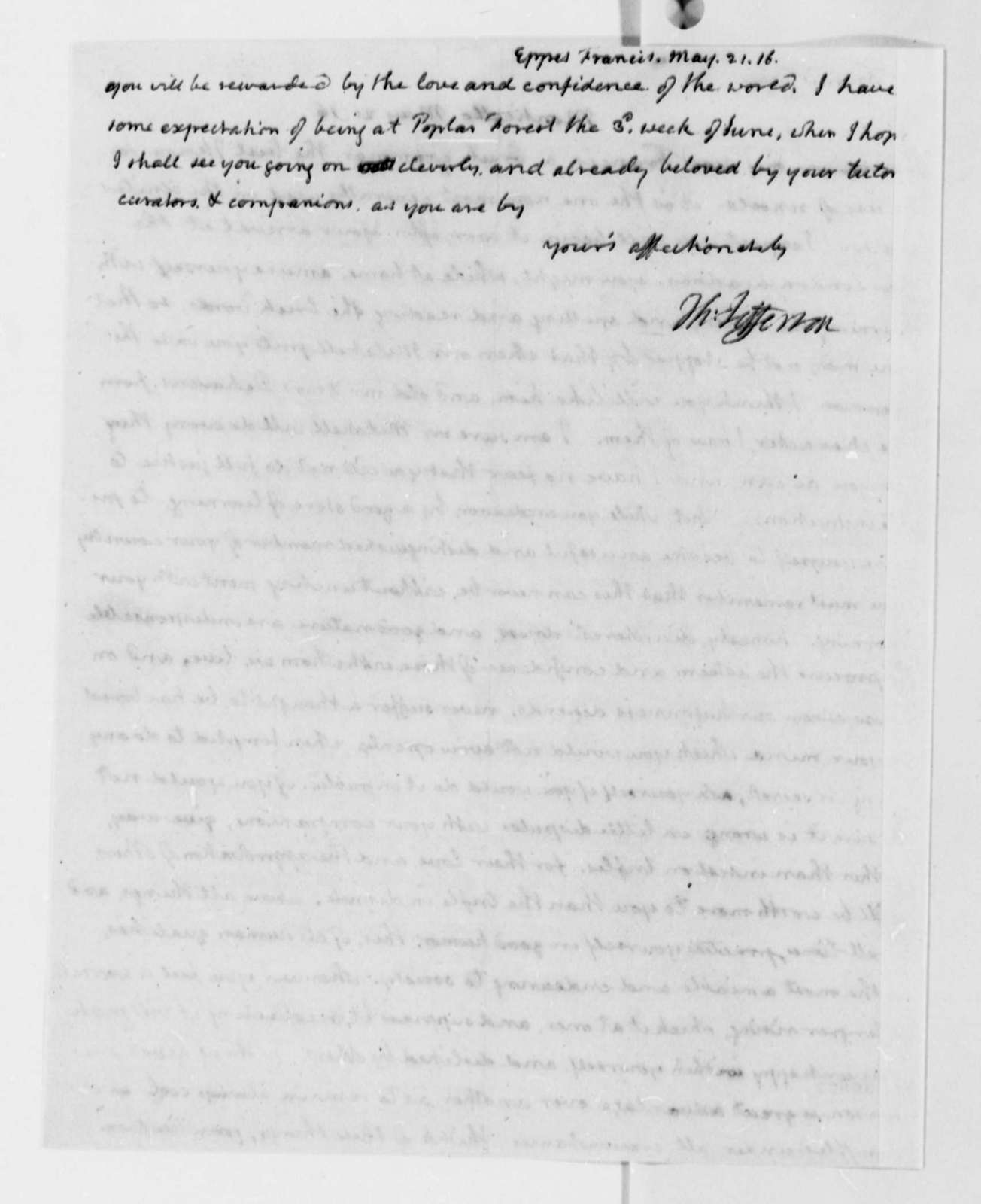 Thomas Jefferson to Francis Eppes, May 21, 1816, with Copy
