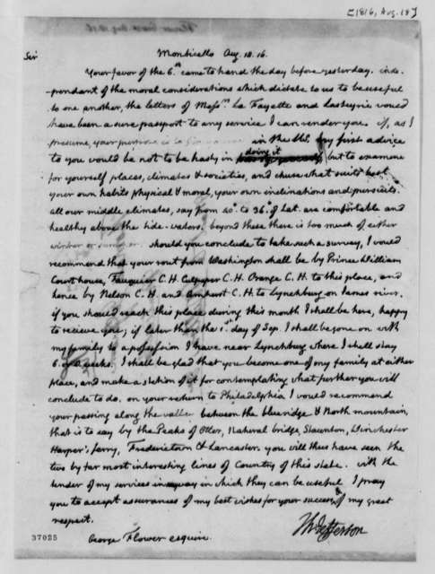 Thomas Jefferson to George Flower, August 18, 1816