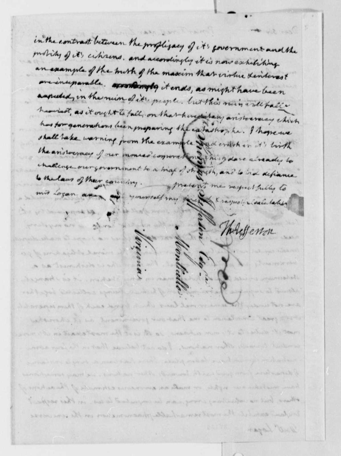 Thomas Jefferson to George Logan, November 12, 1816