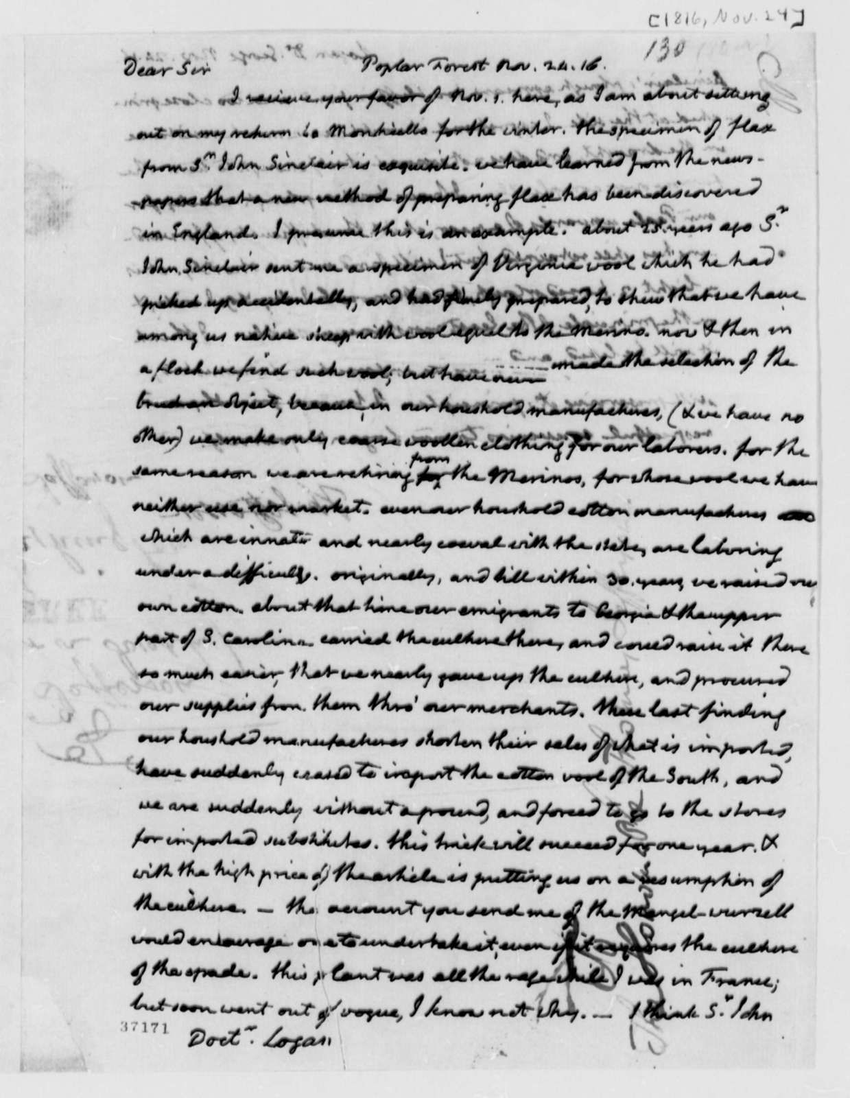 Thomas Jefferson to George Logan, November 24, 1816