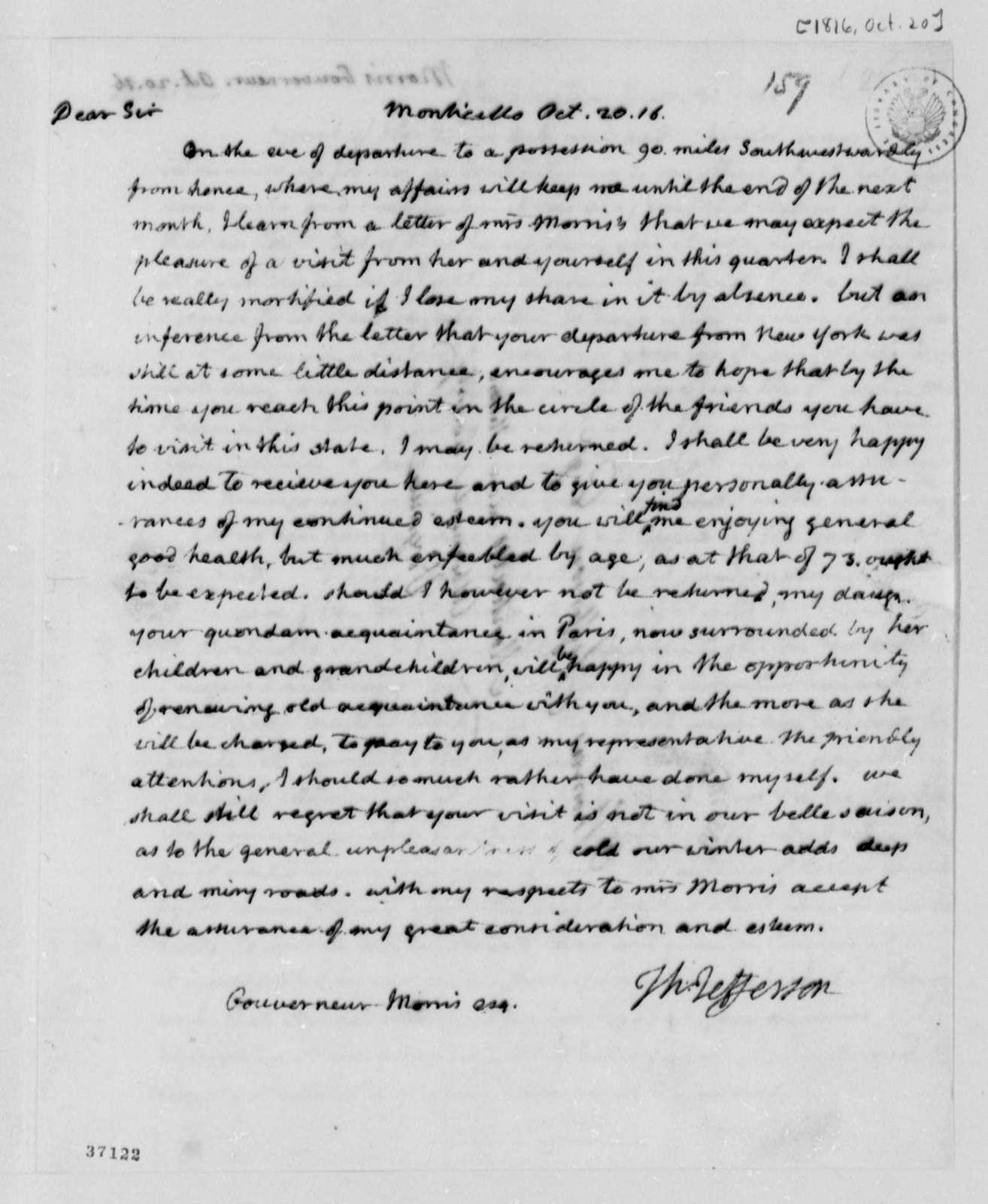 Thomas Jefferson to Gouverneur Morris, October 20, 1816