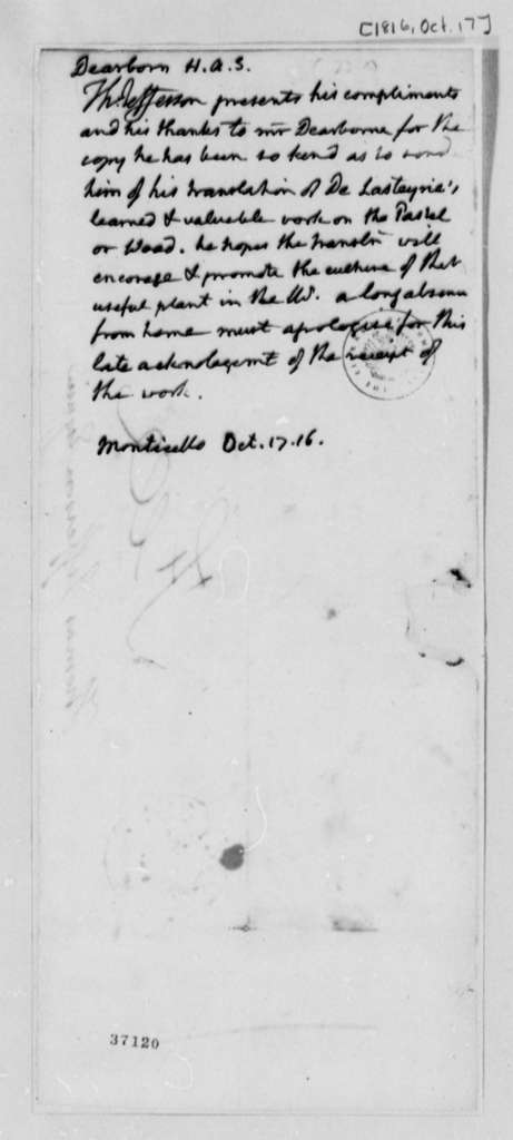 Thomas Jefferson to Henry A. S. Dearborn, October 17, 1816