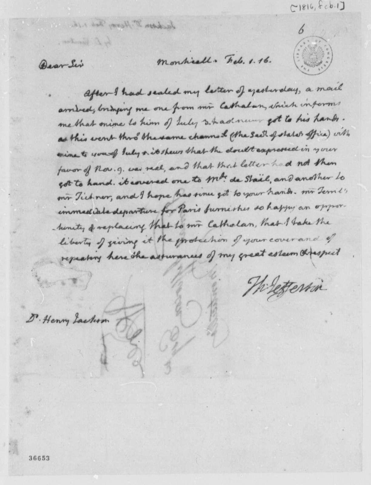 Thomas Jefferson to Henry Jackson, February 1, 1816