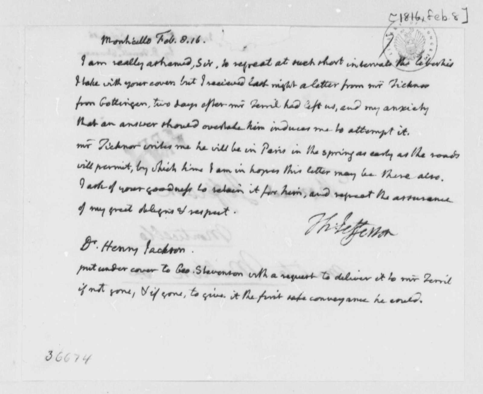 Thomas Jefferson to Henry Jackson, February 8, 1816