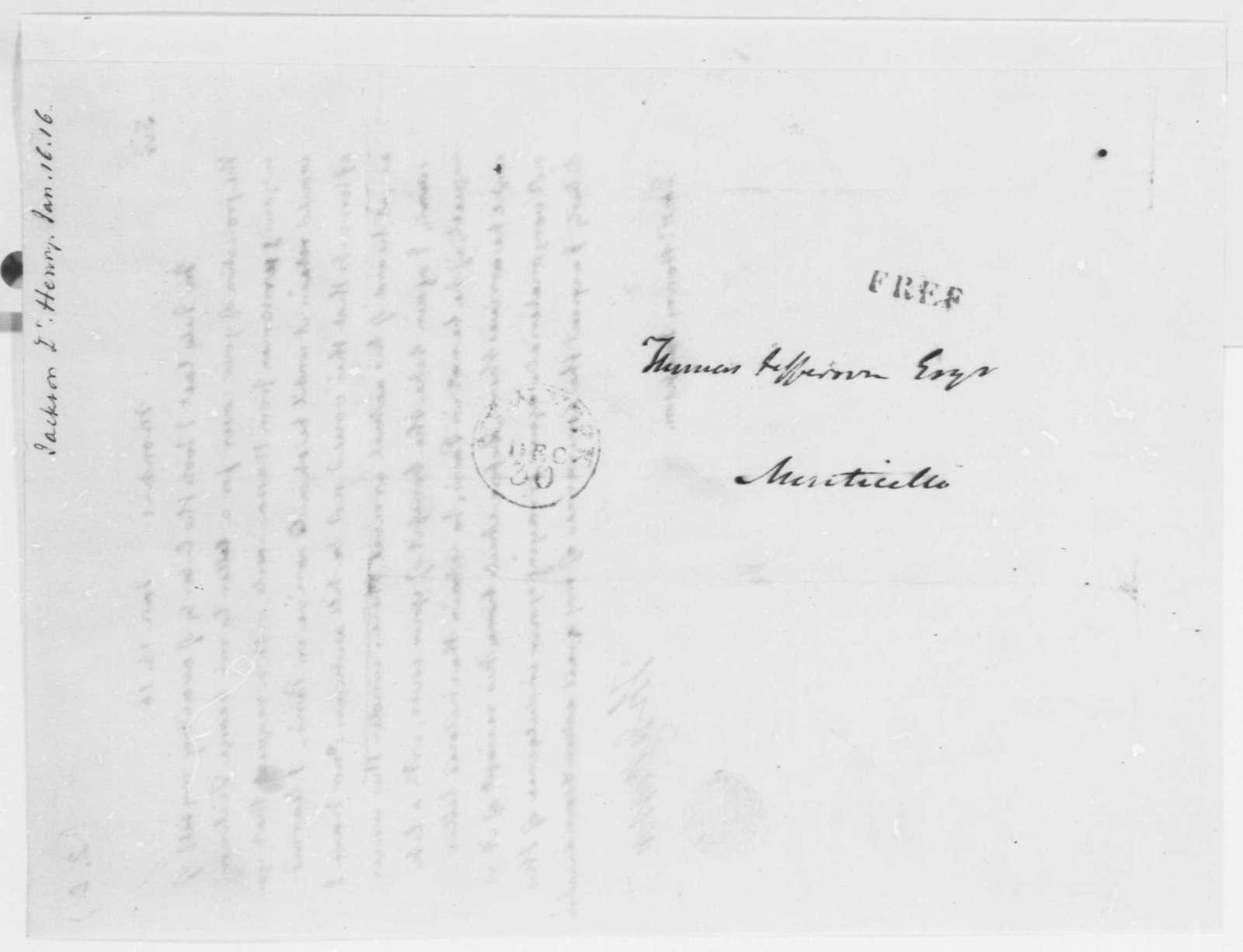 Thomas Jefferson to Henry Jackson, January 16, 1816