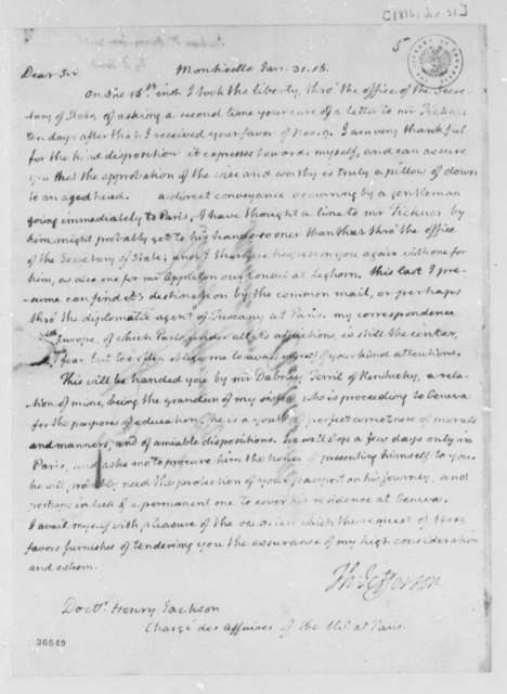 Thomas Jefferson to Henry Jackson, January 31, 1816