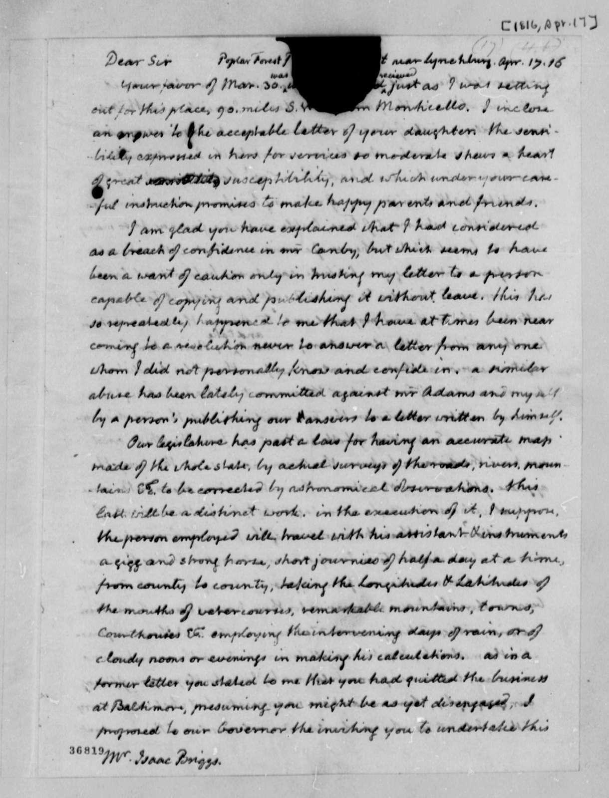 Thomas Jefferson to Isaac Briggs, April 17, 1816