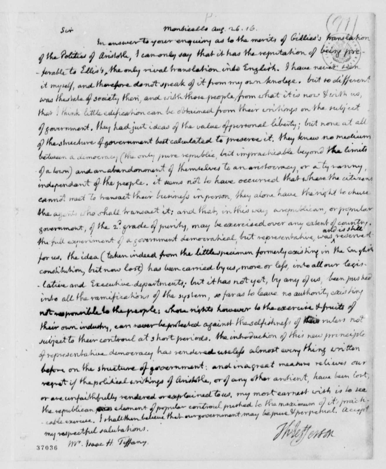 Thomas Jefferson to Isaac H. Tiffany, August 26, 1816