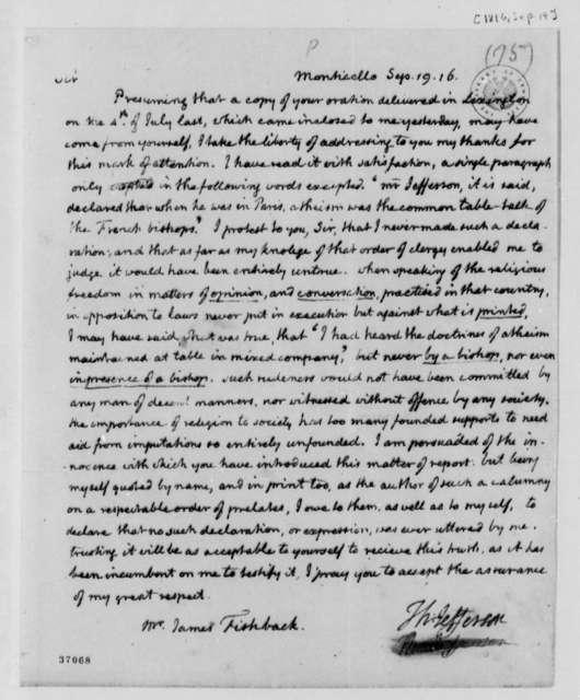 Thomas Jefferson to James Fishback, September 19, 1816