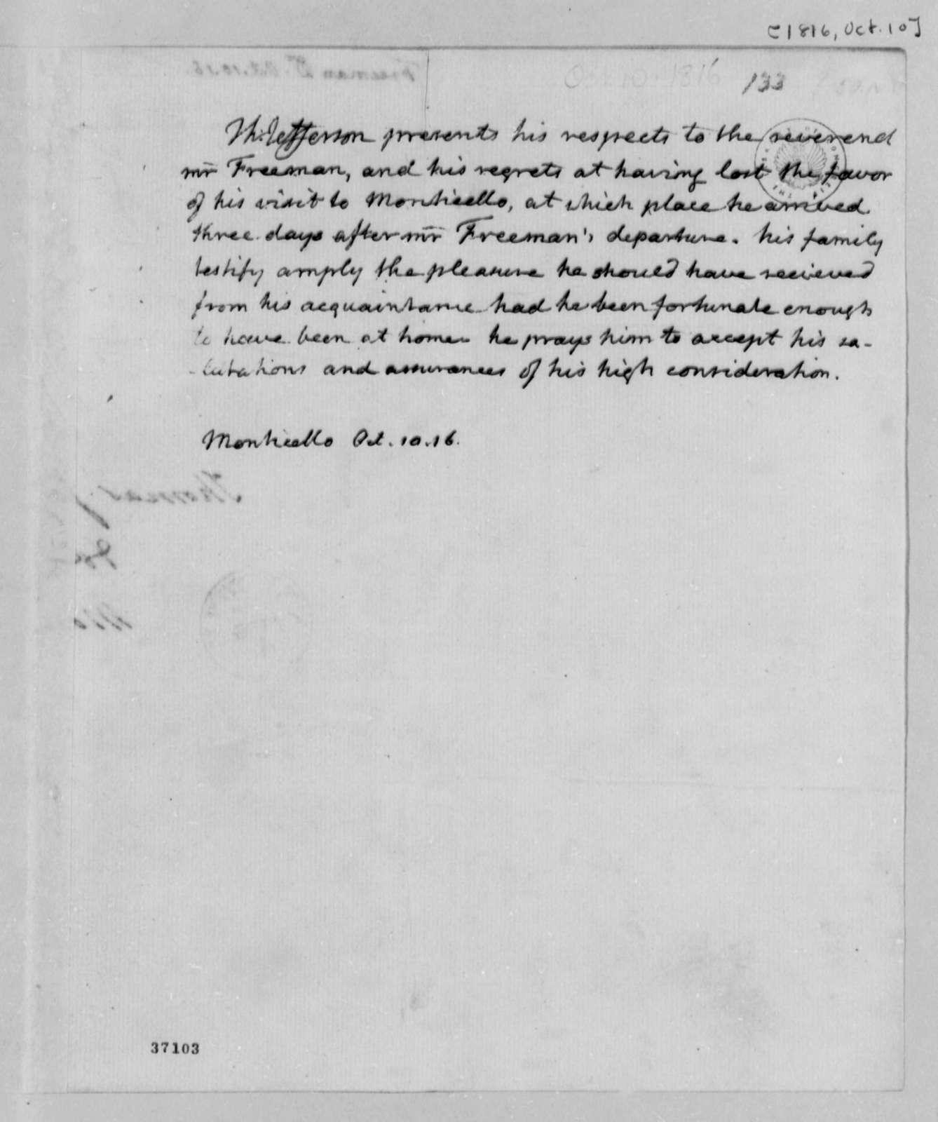 Thomas Jefferson to James Freeman, October 10, 1816