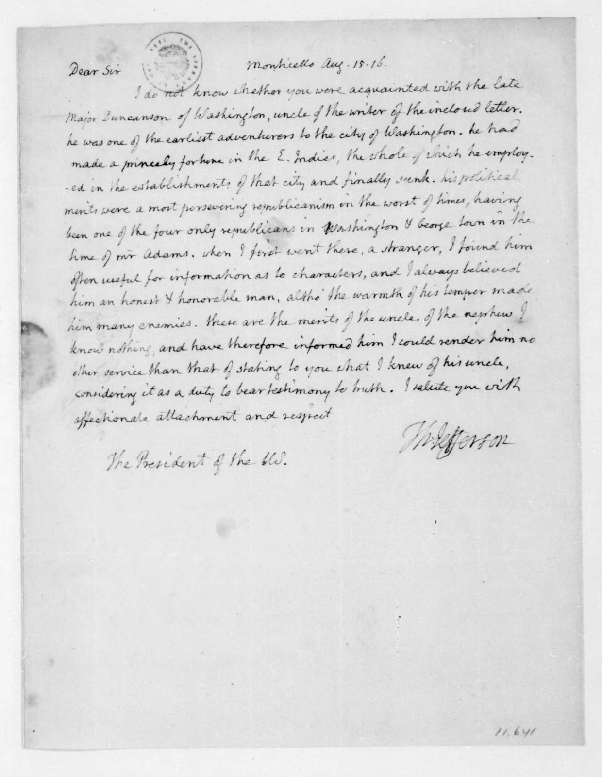 Thomas Jefferson to James Madison, August 15, 1816.