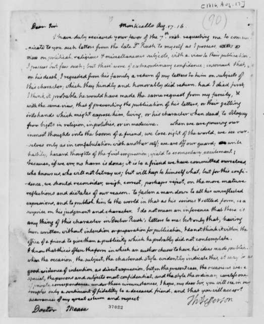 Thomas Jefferson to James Mease, August 17, 1816