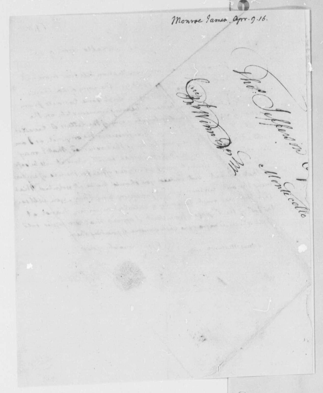 Thomas Jefferson to James Monroe, April 9, 1816