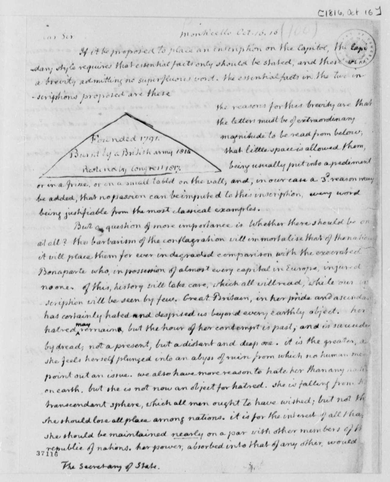 Thomas Jefferson to James Monroe, October 16, 1816