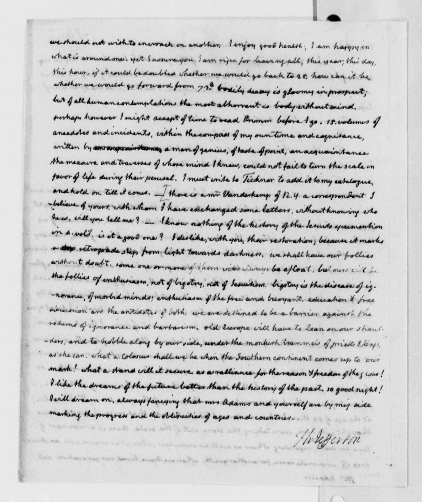 Thomas Jefferson to John Adams, August 1, 1816