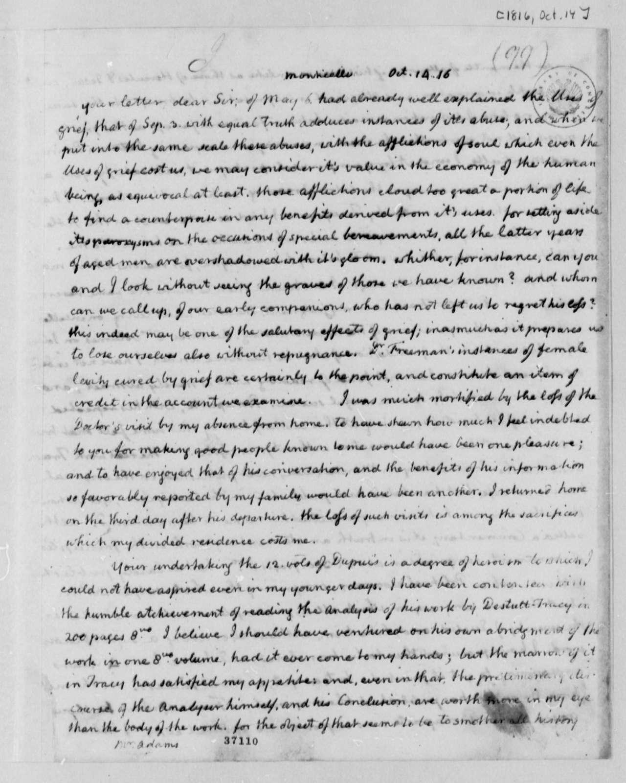 Thomas Jefferson to John Adams, October 14, 1816