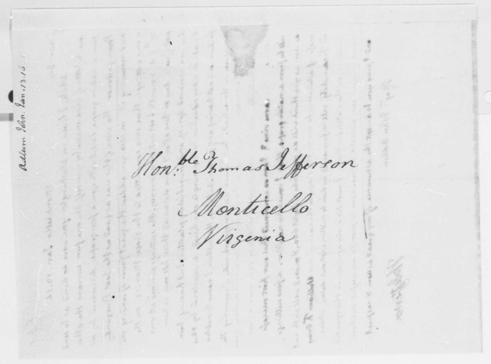 Thomas Jefferson to John Adlum, January 13, 1816