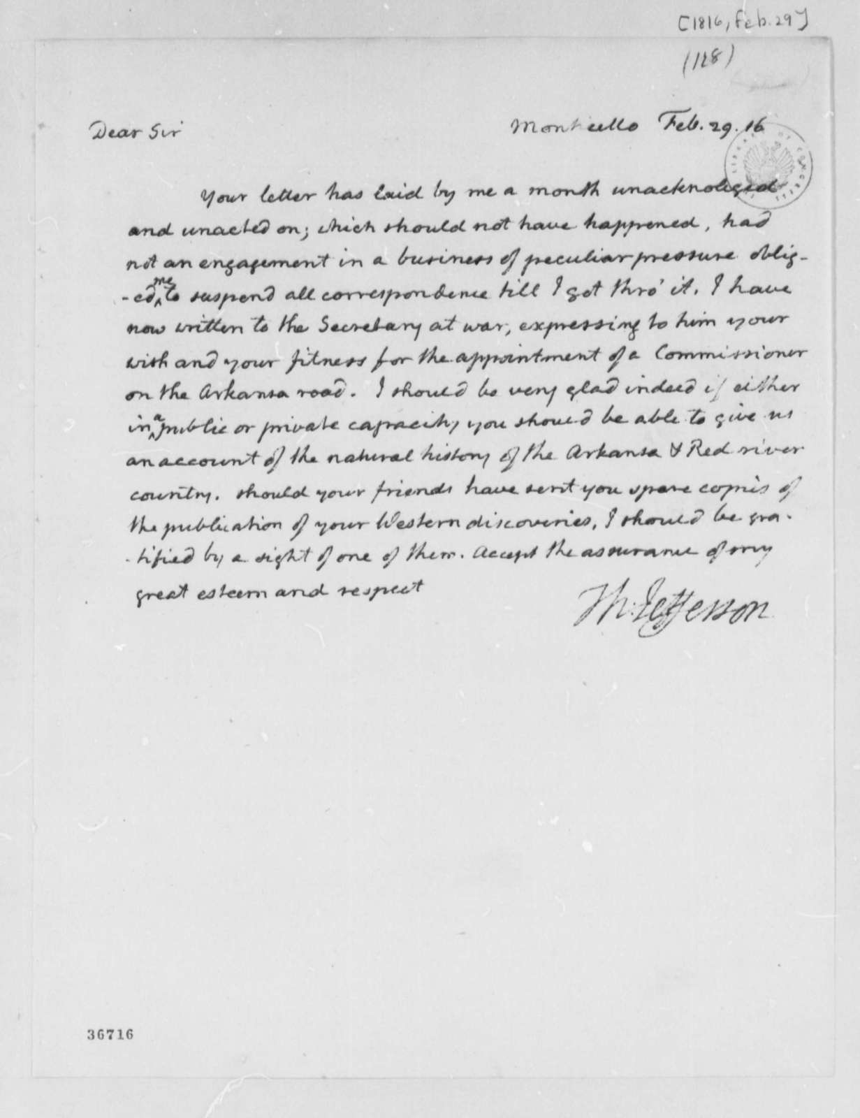 Thomas Jefferson to John Bradbury, February 29, 1816, with Copy