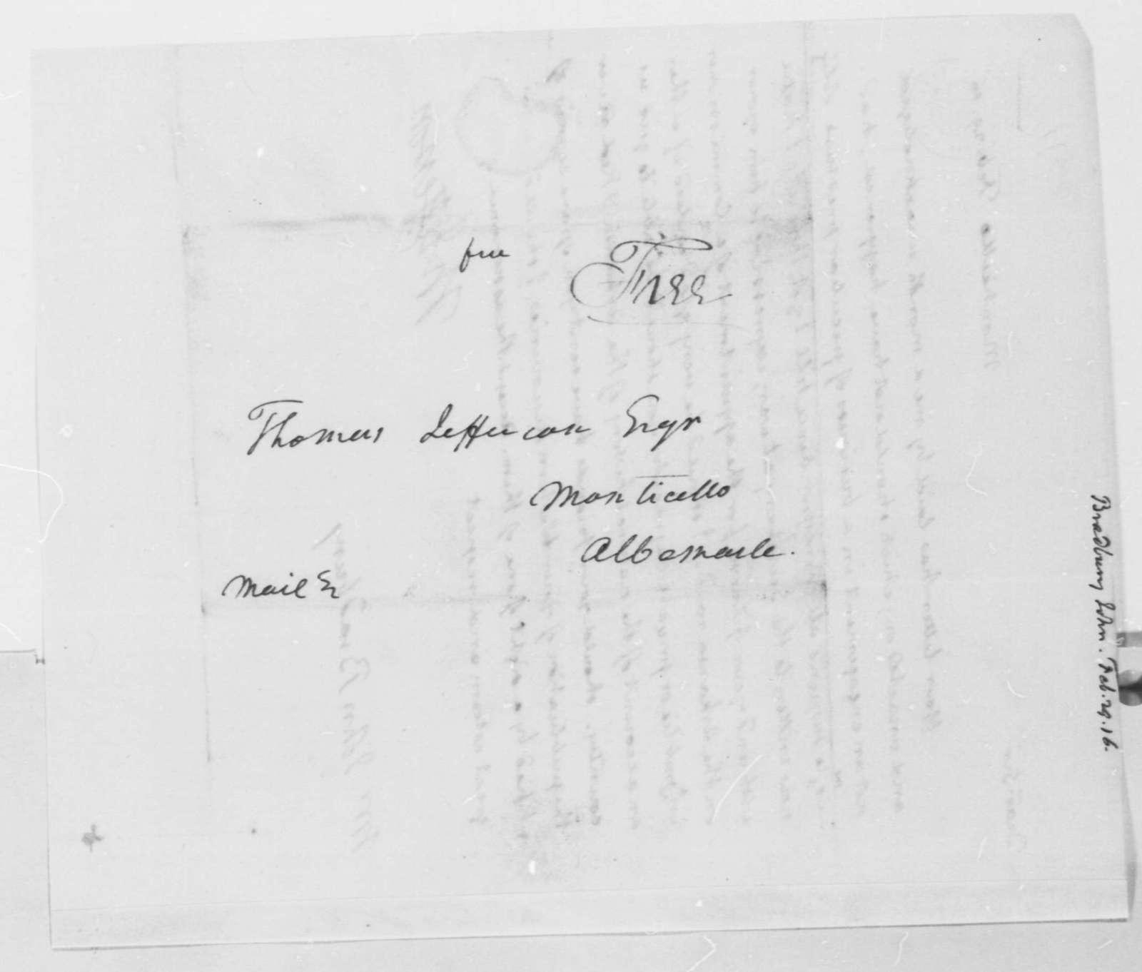 Thomas Jefferson to John Bradbury, February 29, 1816, with Copy