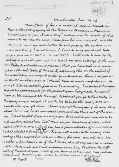 Thomas Jefferson to John David, January 13, 1816