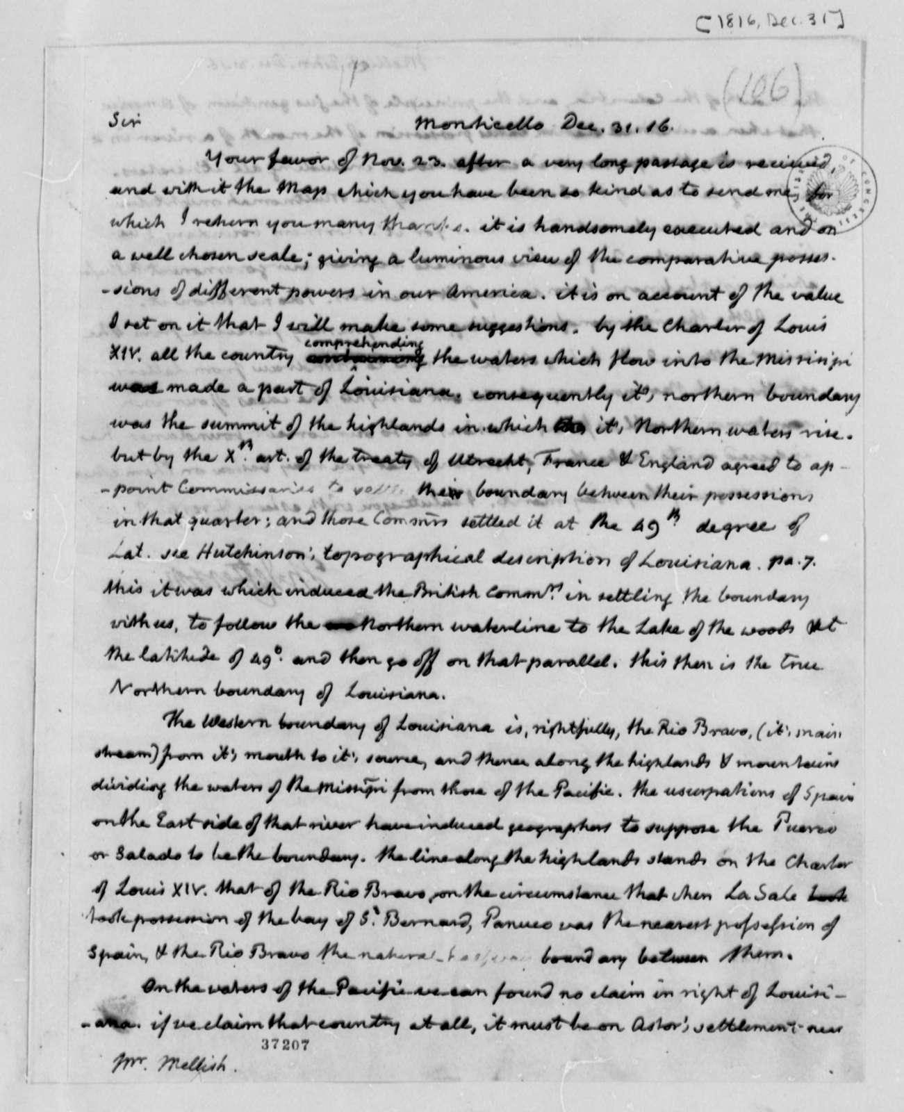 Thomas Jefferson to John Melish, December 31, 1816
