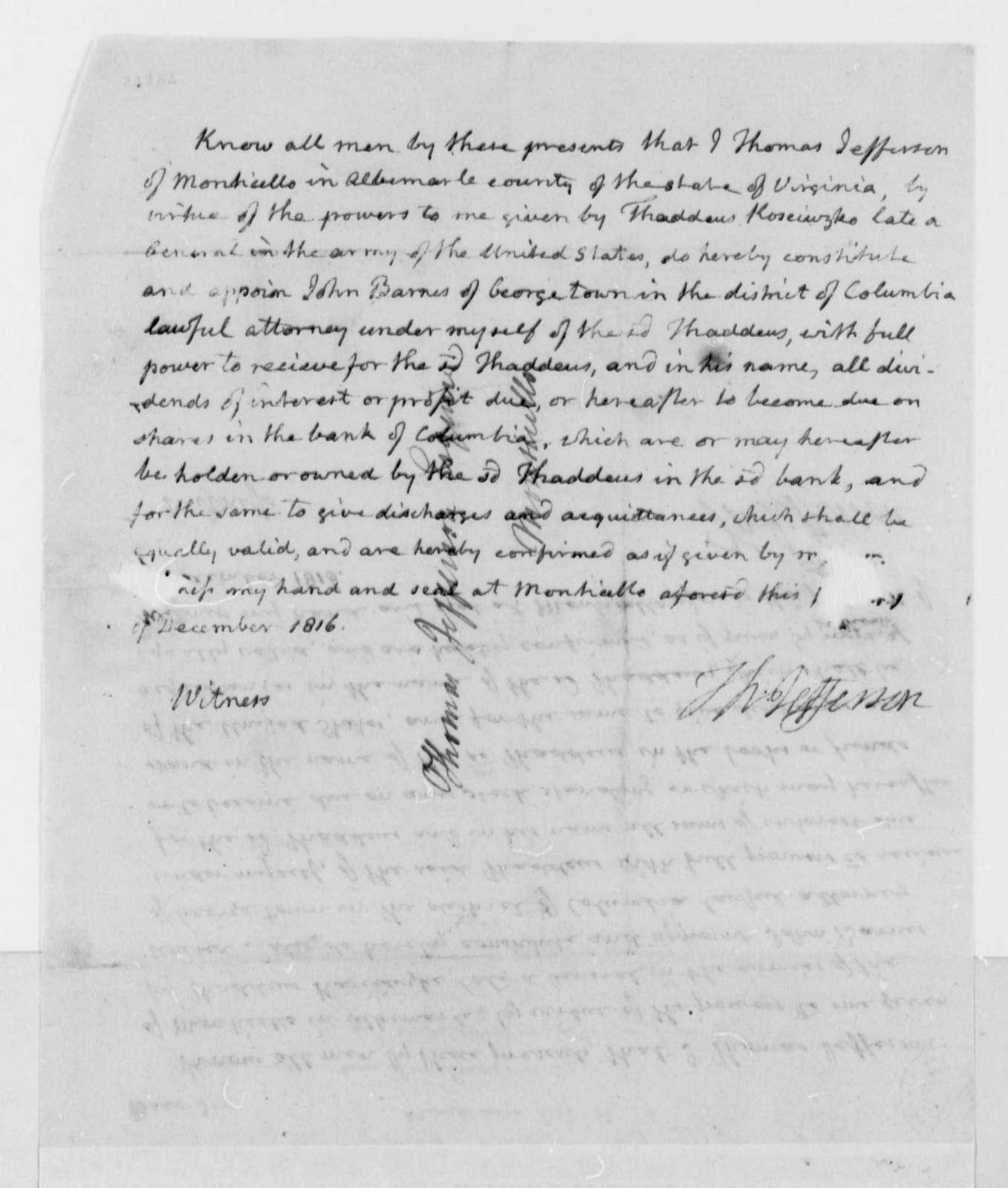 Thomas Jefferson to John S. Barnes, December 15, 1816, with Barnes Powers of Attorney