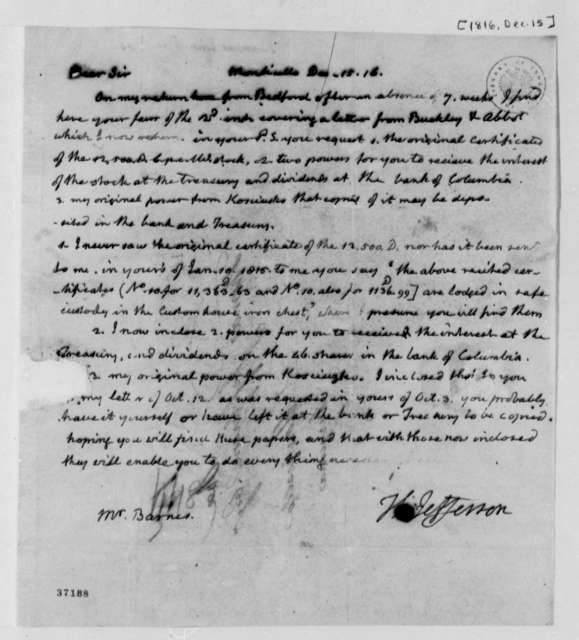 Thomas Jefferson to John S. Barnes, December 15, 1816, with Barnes Powers of Attorney
