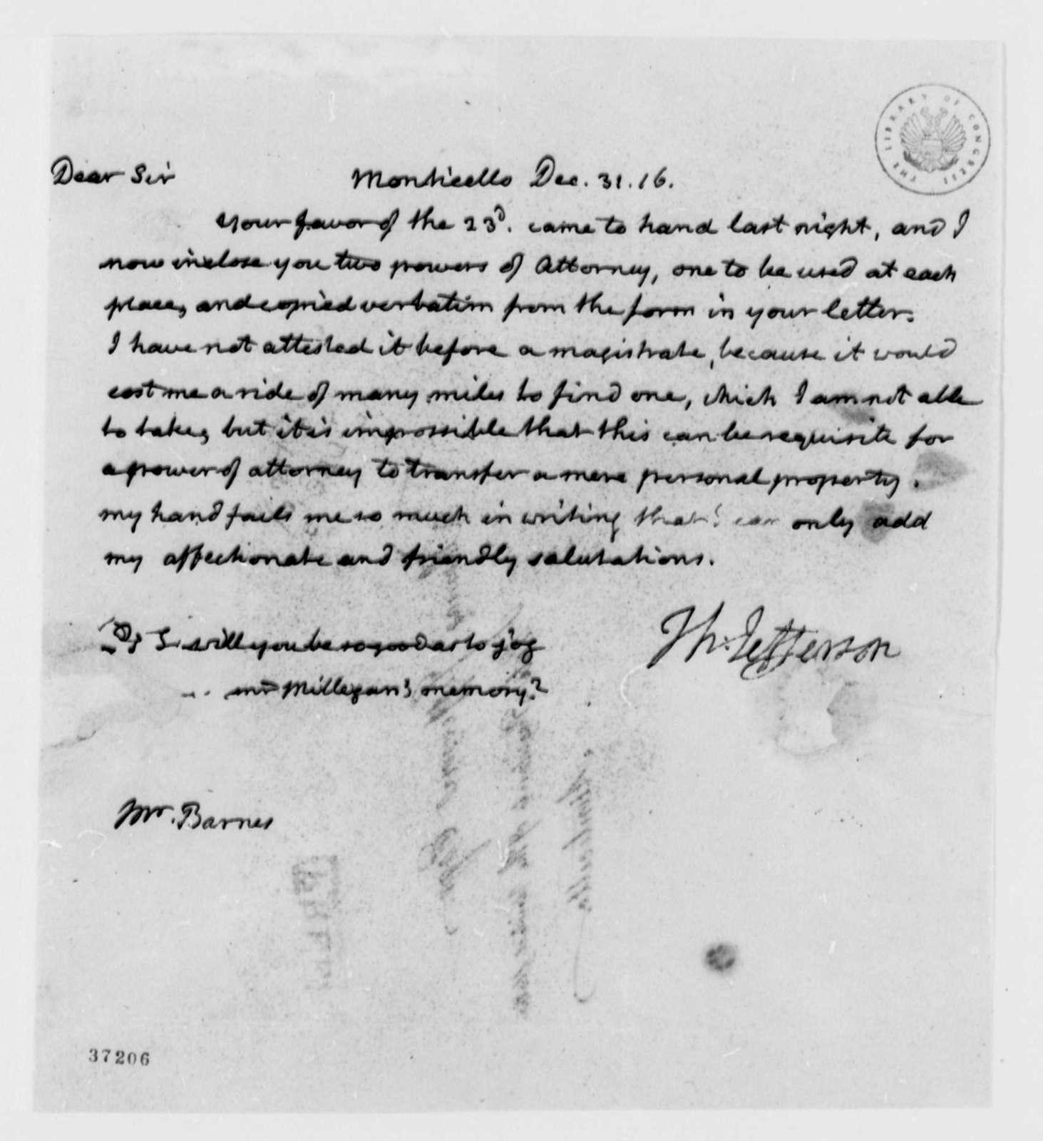 Thomas Jefferson to John S. Barnes, December 31, 1816