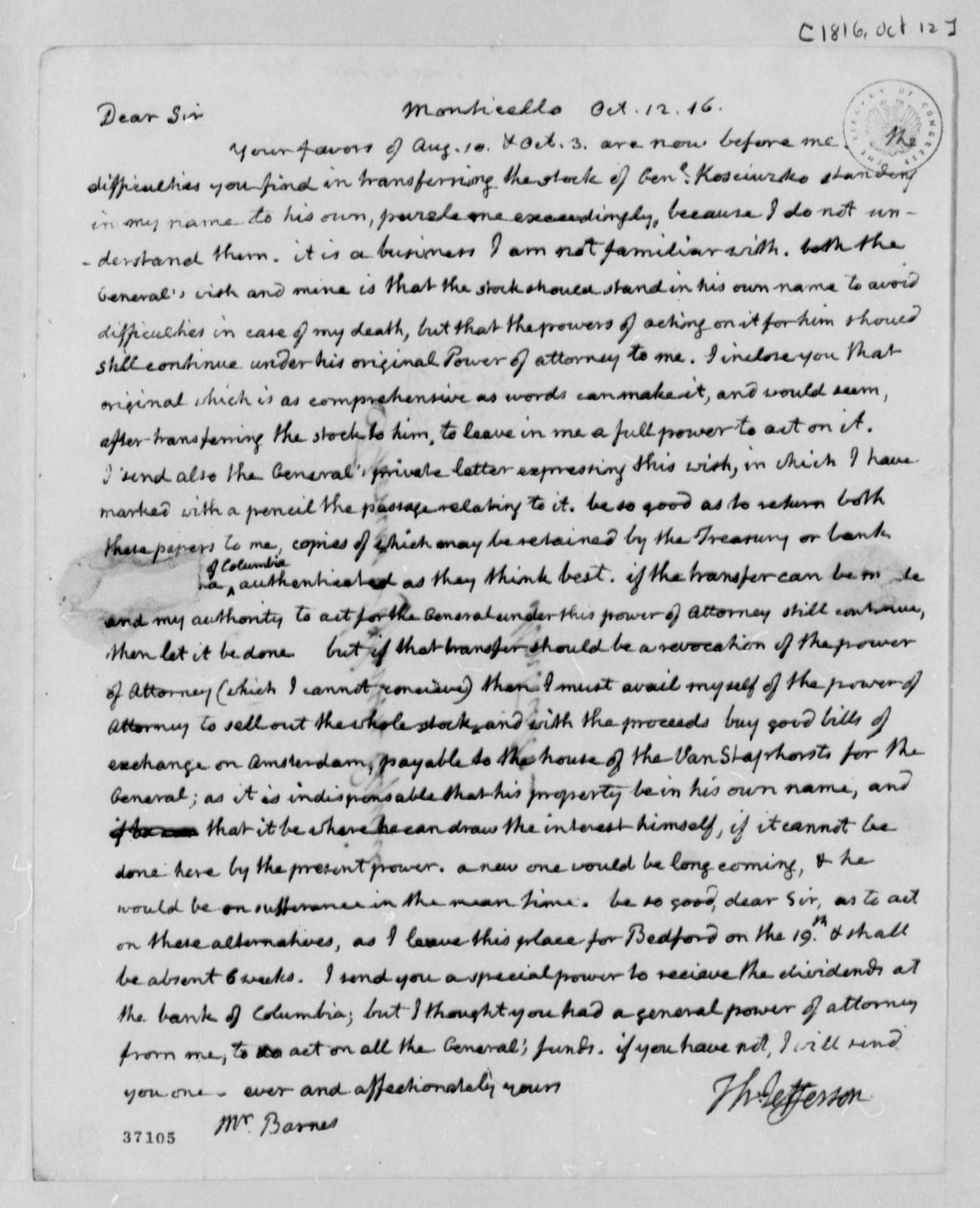 Thomas Jefferson to John S. Barnes, October 12, 1816