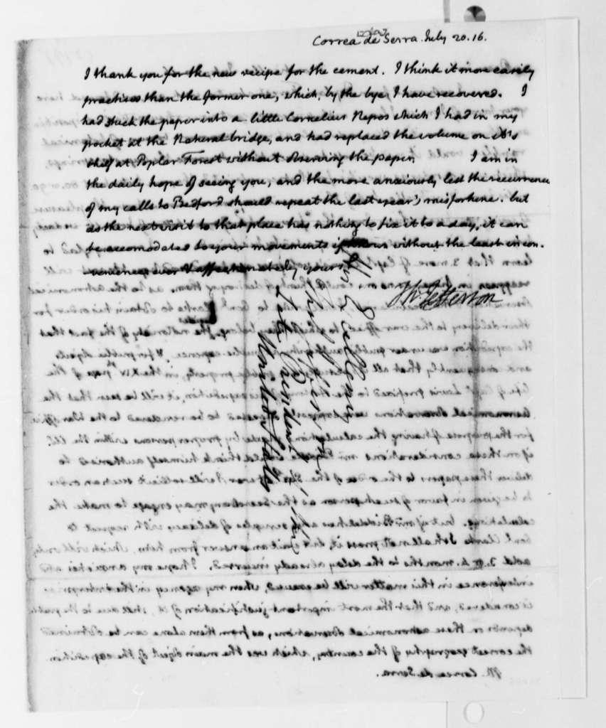 Thomas Jefferson to Jose Correa da Serra, July 20, 1816