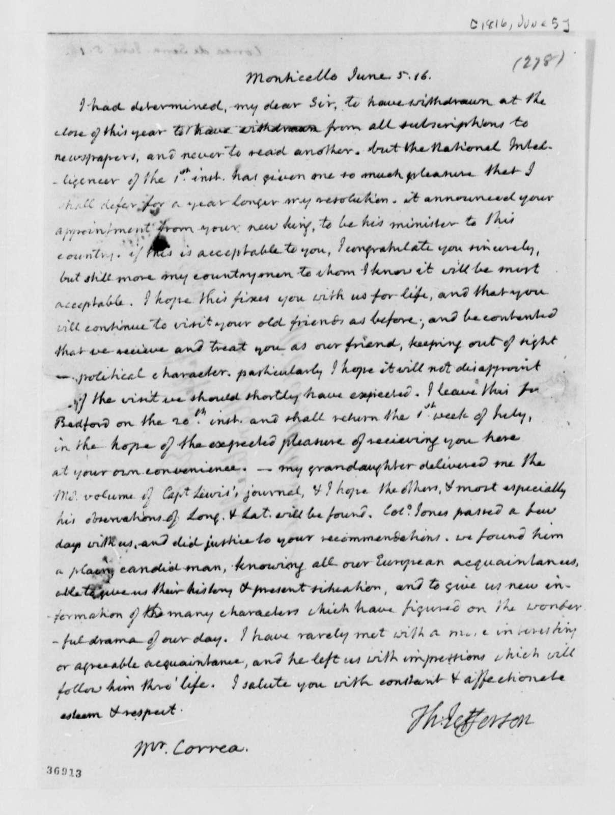 Thomas Jefferson to Jose Correa da Serra, June 5, 1816