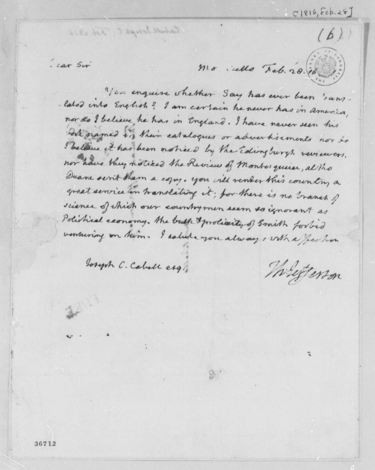Thomas Jefferson to Joseph C. Cabell, February 28, 1816