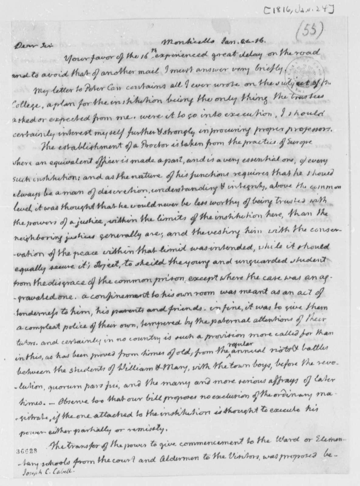 Thomas Jefferson to Joseph C. Cabell, January 24, 1816