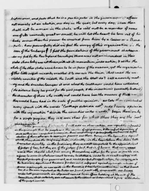 Thomas Jefferson to Joseph Cabell, February 2, 1816, Extract, with Thomas Jefferson Note