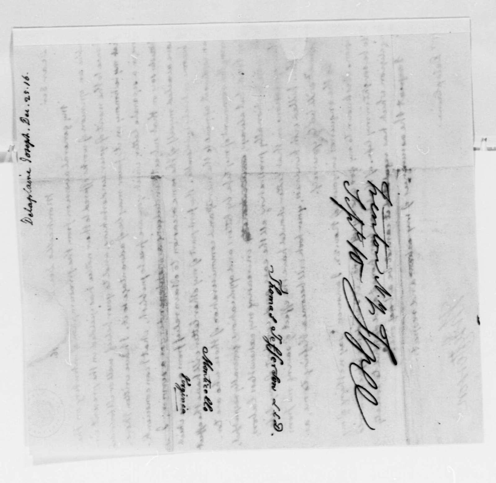 Thomas Jefferson to Joseph Delaplaine, December 25, 1816