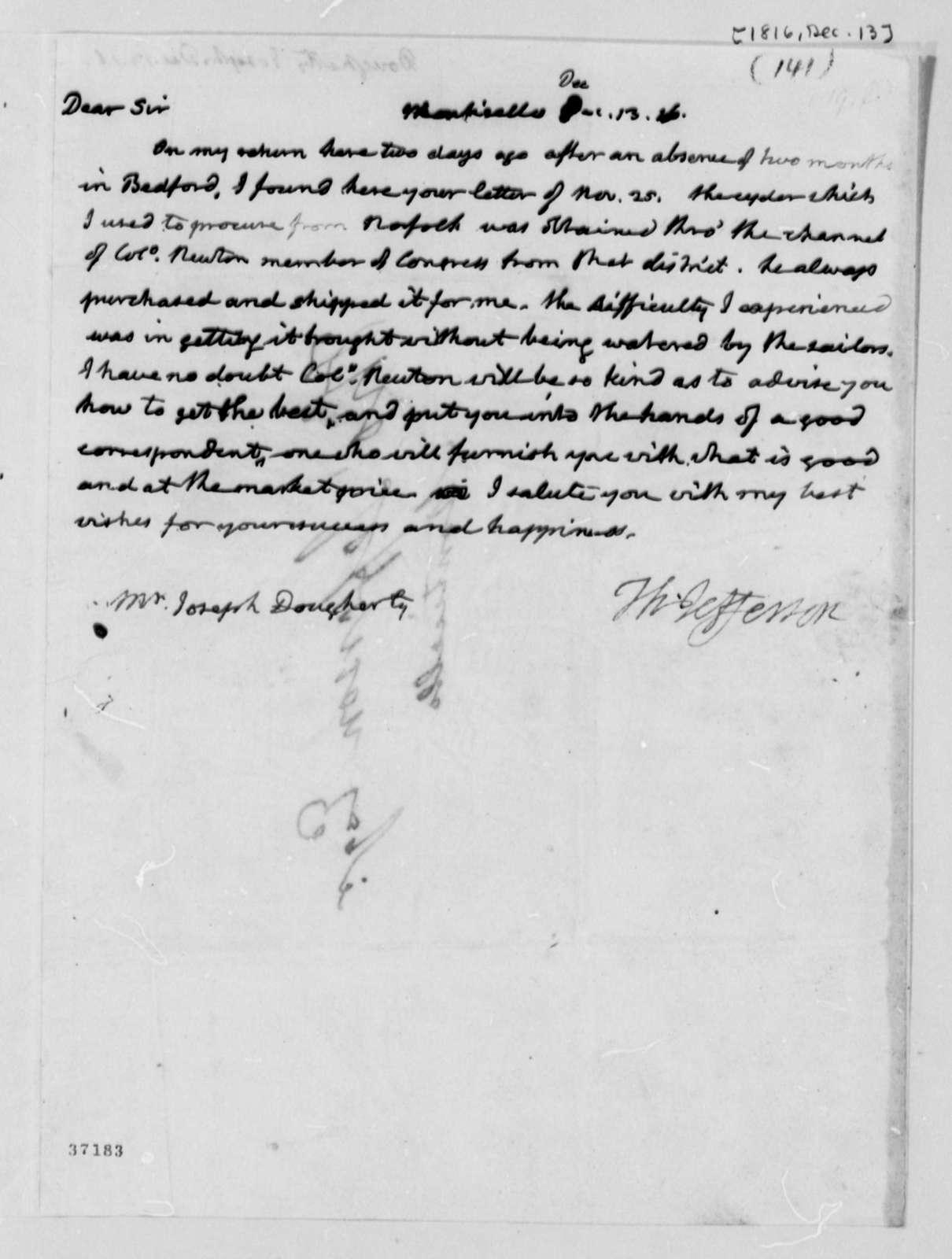 Thomas Jefferson to Joseph Dougherty, December 13, 1816