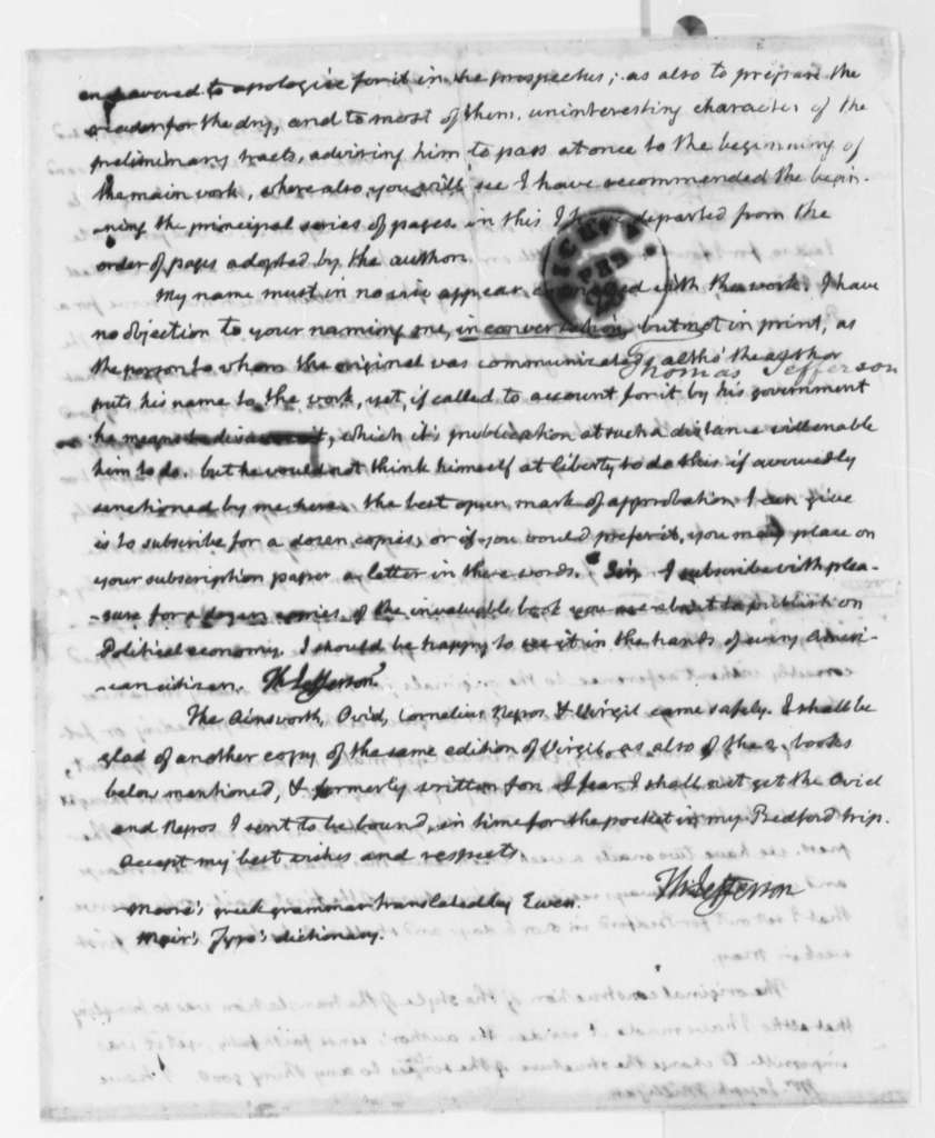 Thomas Jefferson to Joseph Milligan, April 6, 1816