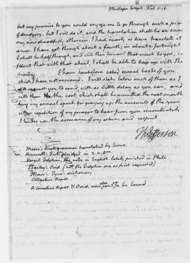 Thomas Jefferson to Joseph Milligan, February 11, 1816