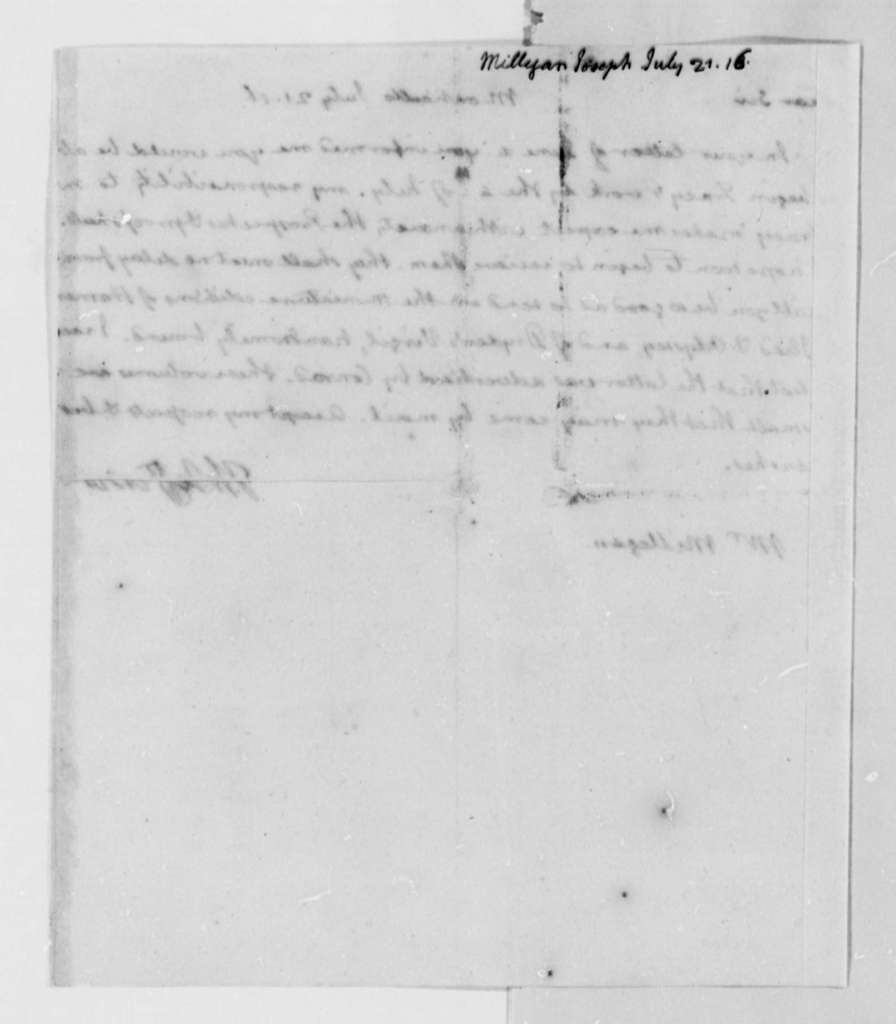Thomas Jefferson to Joseph Milligan, July 21, 1816