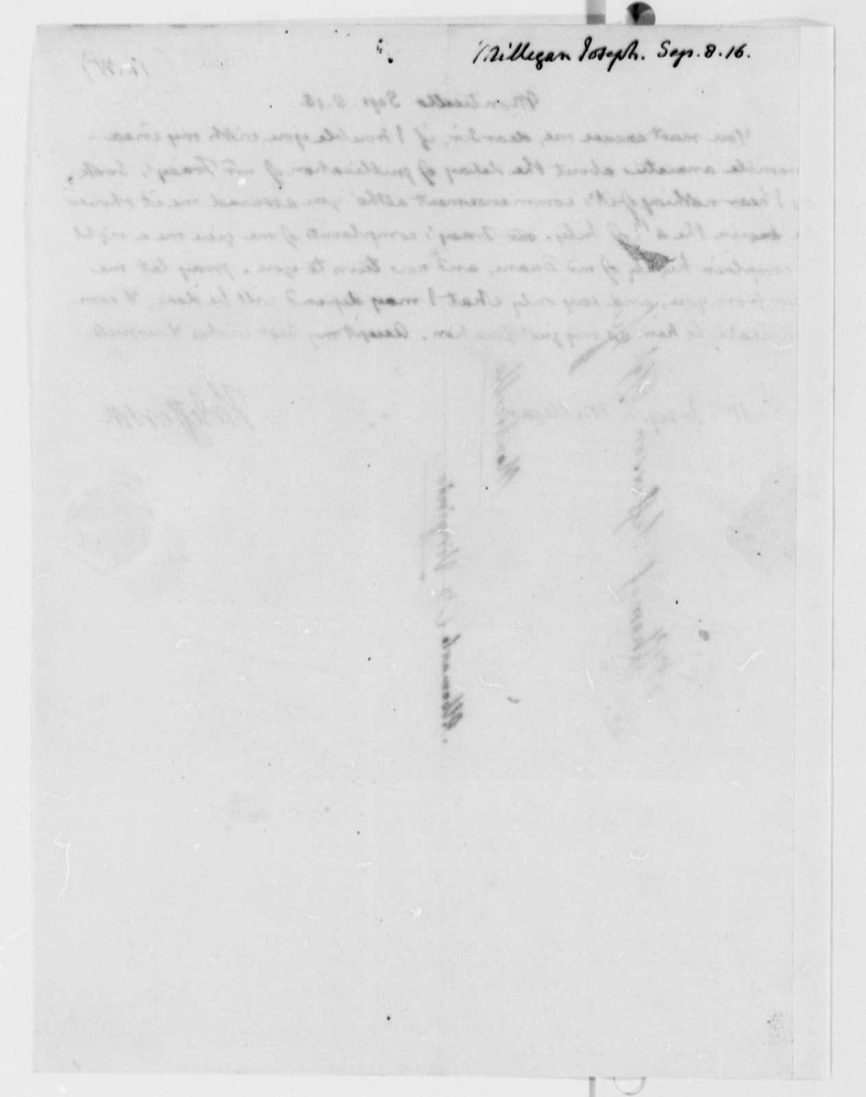 Thomas Jefferson to Joseph Milligan, September 8, 1816