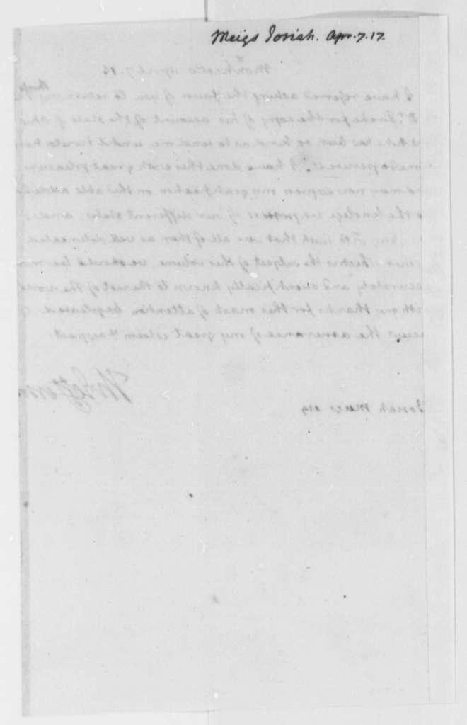 Thomas Jefferson to Josiah Meigs, April 7, 1816