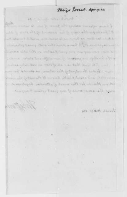 Thomas Jefferson to Josiah Meigs, April 7, 1816