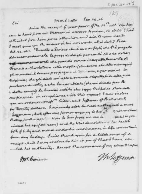 Thomas Jefferson to Justin Pierre Plumard Derieux, January 24, 1816