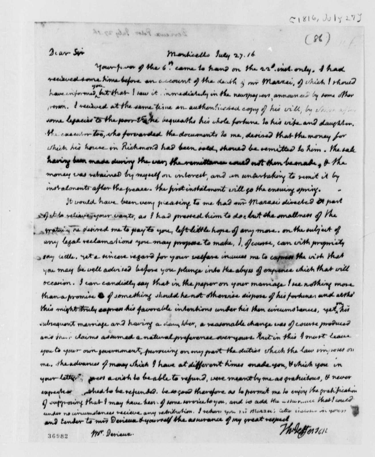 Thomas Jefferson to Justin Pierre Plumard Derieux, July 27, 1816