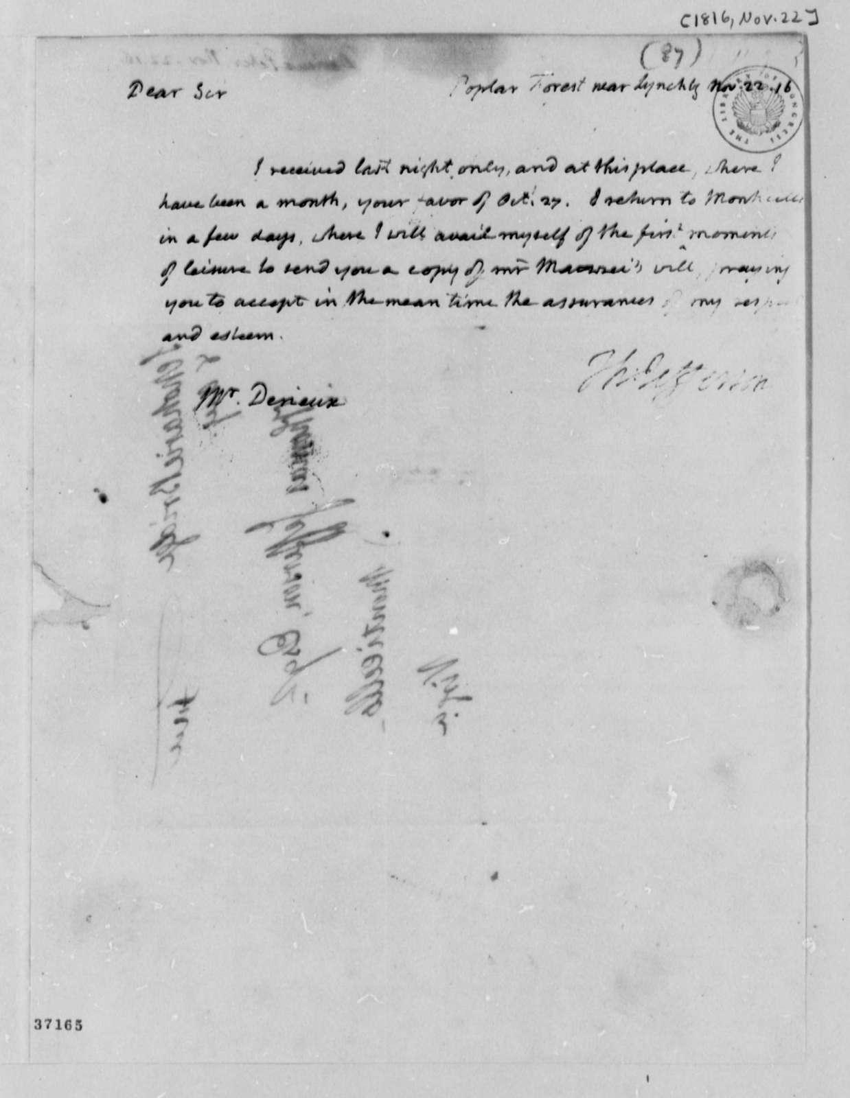 Thomas Jefferson to Justin Pierre Plumard Derieux, November 22, 1816