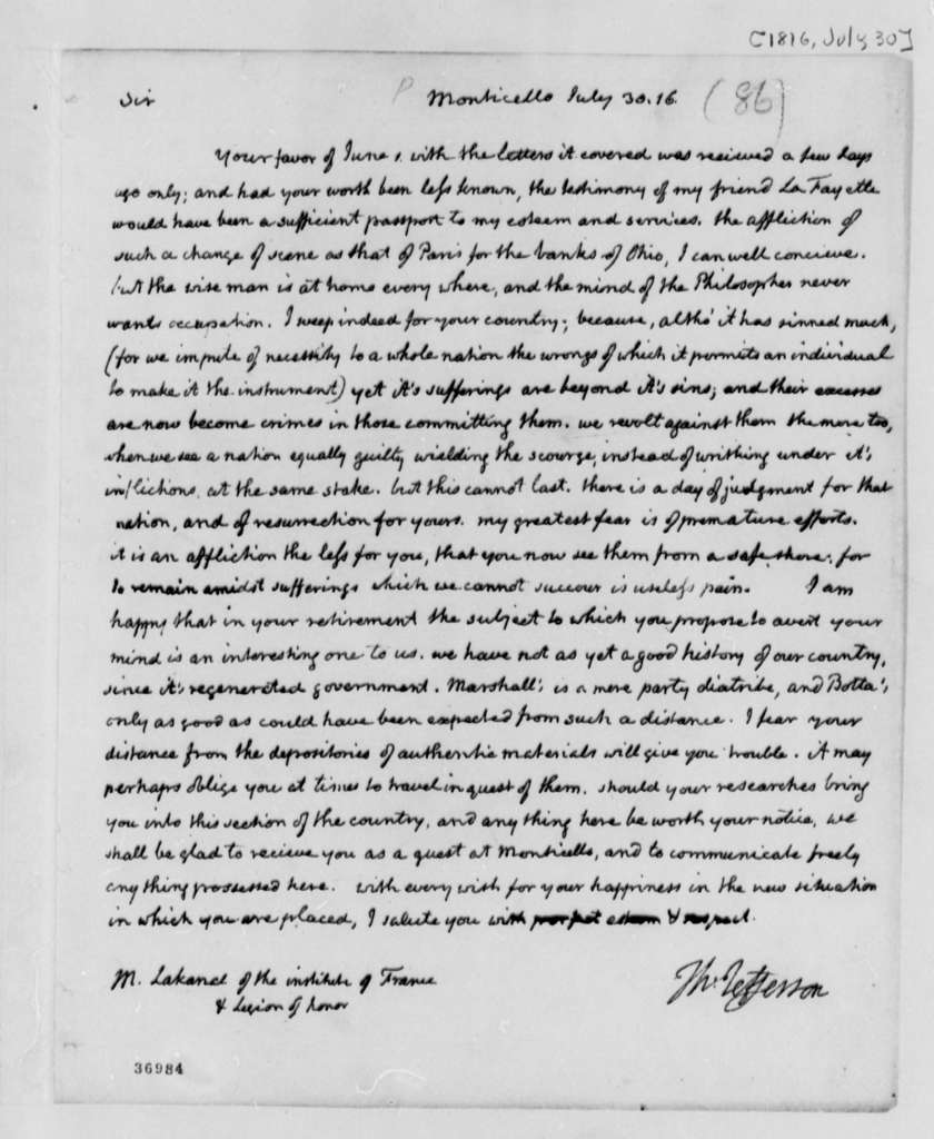Thomas Jefferson to Lakanal, July 30, 1816