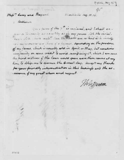 Thomas Jefferson to Leroy-Bayard & Company, August 15, 1816