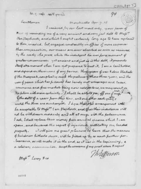 Thomas Jefferson to Leroy-Bayard & McCorn, April 7, 1816